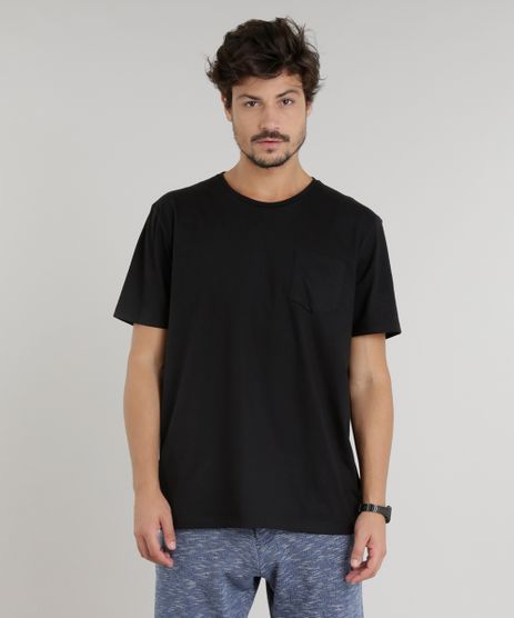 Camiseta-Masculina-com-Bolso-Manga-Curta-Gola-Careca-Preta-9226104-Preto_1