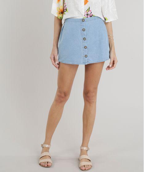 2974a3db3 Short Saia Jeans Feminino com Botões Azul Claro - cea