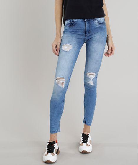 Calça jeans Feminina Skinny Sawary Destroyed Azul Médio - cea 68e72e2d3f45a