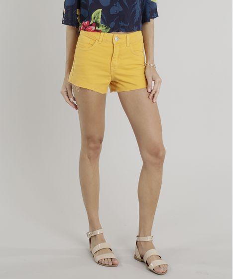 18123c062 Short de Sarja Feminino Hot Pants Cintura Alta Mostarda - cea