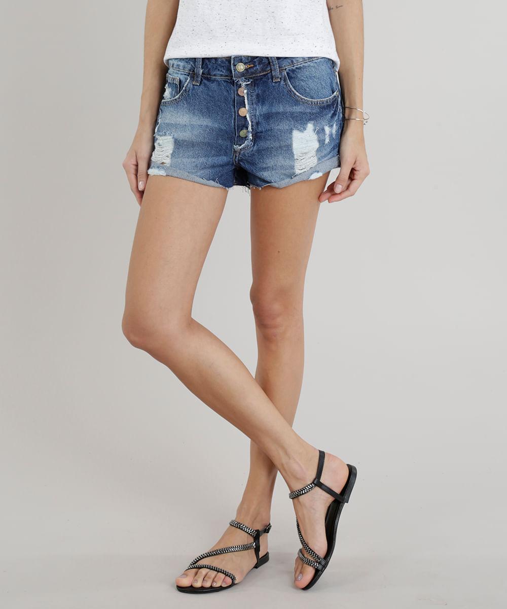42a5f5d96 Short Jeans Feminino Boy Destroyed Barra Dobrada Azul Escuro ...