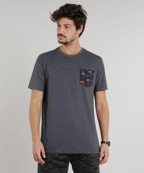 Camiseta-Masculina-com-Bolso-Estampado-de-Coqueiros-Manga-Curta-Gola-Careca-Cinza-Mescla-Escuro-9293674-Cinza_Mescla_Escuro_1