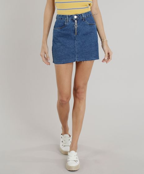Saia-Jeans-Feminina-Curta-com-Ziper-de-Argola-Azul-Escuro-9263427-Azul_Escuro_1
