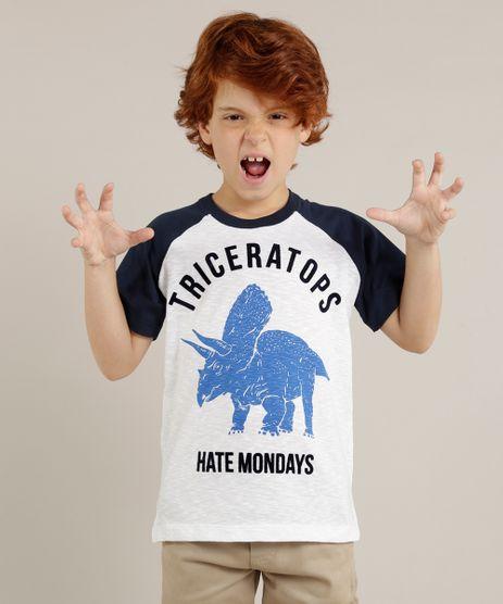 Camiseta-Infantil-Raglan--Triceratops--Dinossauro-Manga-Curta-Gola-Careca-Off-White-9232621-Off_White_1