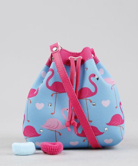 Bolsa-Infantil-Estampada-de-Flamingos---Elasticos-de-Cabelo-Azul-Claro-9239121-Azul_Claro_1