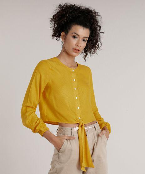 Camisa-Feminina-Cropped-com-No-Manga-Longa-Decote-Redondo-Amarela-9185663-Amarelo_1