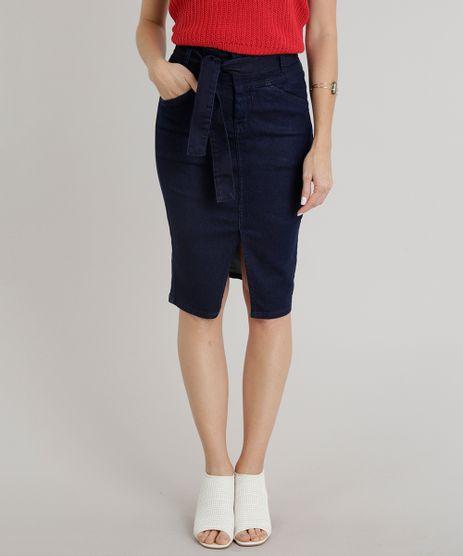 Saia-Jeans-Feminina-Lapis-com-Fenda-e-Faixa-de-Amarrar-Azul-Escuro-9347906-Azul_Escuro_1