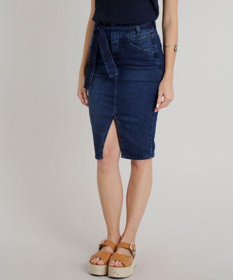 Saia-Jeans-Feminina-Lapis-com-Fenda-e-Faixa-de-Amarrar-Azul-Escuro-9326413-Azul_Escuro_1