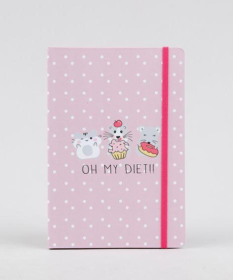 Caderno-Estampado-de-Poas-e-Ratinhos-Sem-Pauta-205-cm-x-14-cm-Rosa-Claro-9328693-Rosa_Claro_1