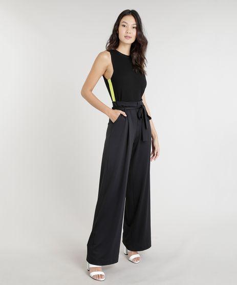 Calca-Feminina-Pantalona-de-Malha-com-Faixa-para-Amarrar-Preta-9253251-Preto_2
