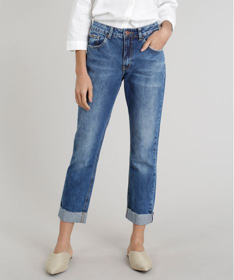 ce339143e2a874 Calça Jeans Feminina Reta com Barra Virada Azul Escuro - cea