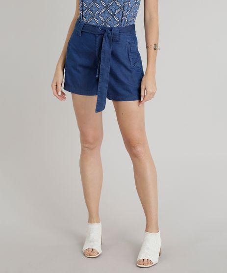 Short-Jeans-Feminino-com-Faixa-de-Amarrar-Azul-Escuro-9269743-Azul_Escuro_1
