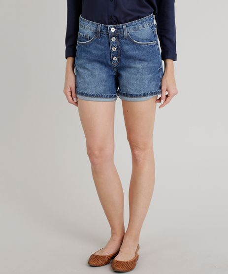 Short-Jeans-Feminino-Midi-com-Botoes-Azul-Escuro-9271820-Azul_Escuro_1