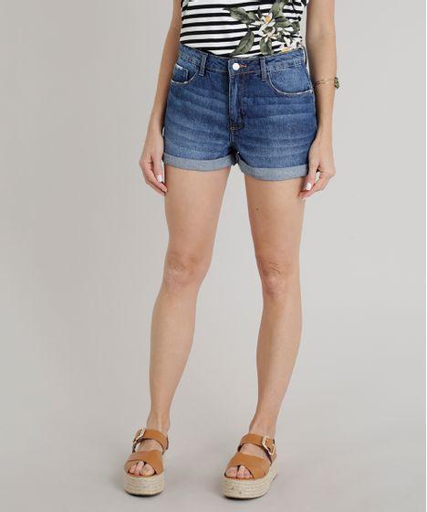 0a406bfd0 Short Jeans Feminino Boyfriend Barra Dobrada Azul Escuro - cea