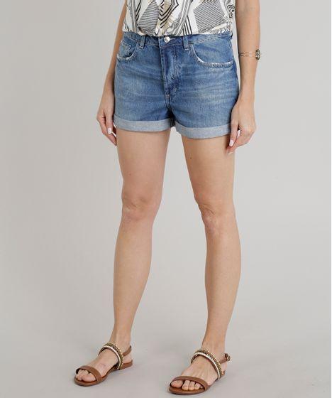 c83739d10 Short Jeans Feminino Boyfriend Barra Dobrada Azul Médio - cea