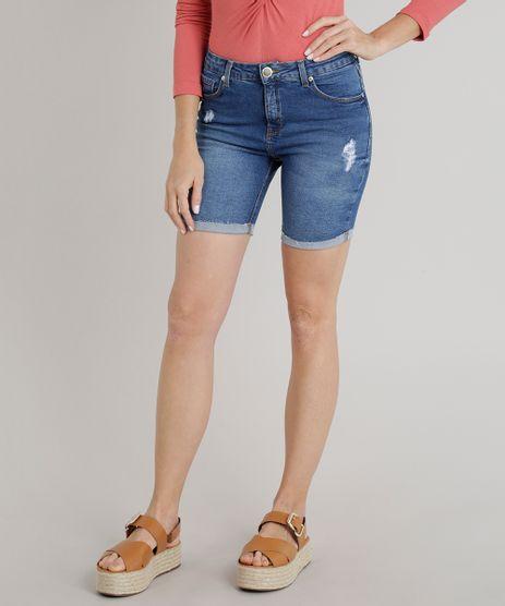 Bermuda-Jeans-Feminina-com-Puidos-Azul-Escuro-9323369-Azul_Escuro_1