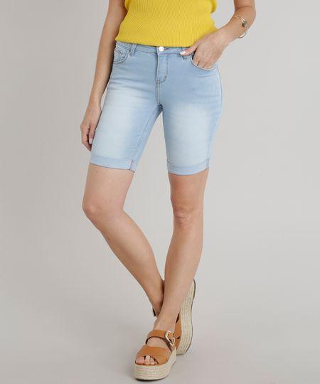 c80382c0b7 Menor preço em Bermuda Jeans Feminina Ciclista Barra Dobrada Azul Claro