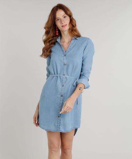 Vestido-Chemise-Jeans-Feminino-com-Cinto-Manga-Longa-Azul-Claro-9274702-Azul_Claro_1