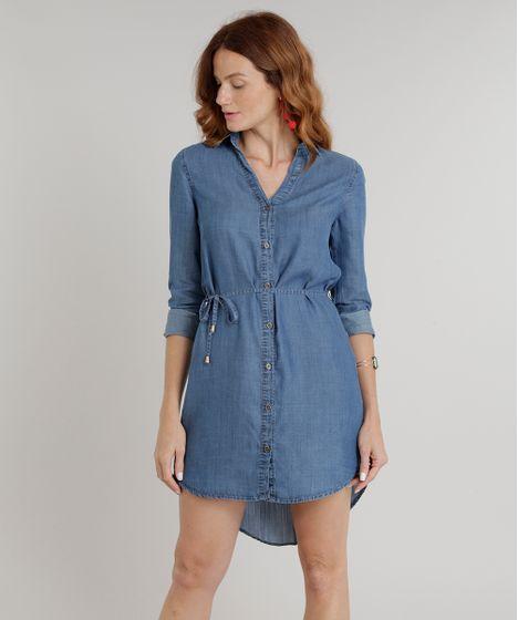 b80e74af73a1b Vestido Chemise Jeans Feminino com Cinto Manga Longa Azul Médio - cea