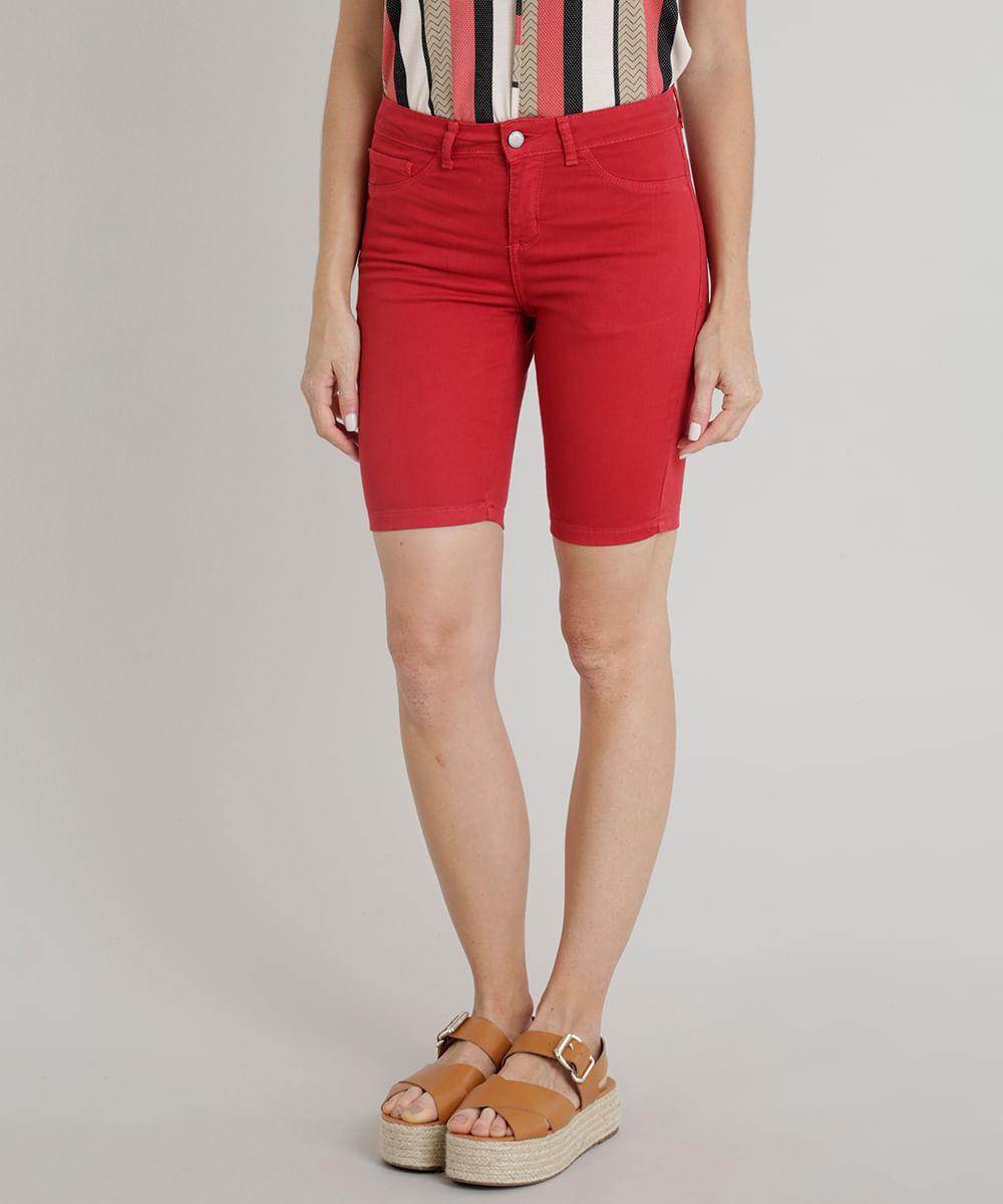 e871365a7 ... Bermuda-de-Sarja-Feminina-Ciclista-Vermelha-9309024-Vermelho 1