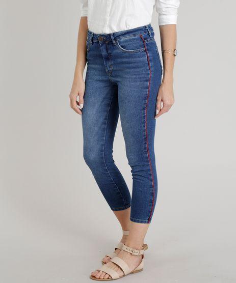 Calca-Jeans-Feminina-Skinny-Cintura-Alta-com-Faixa-Lateral--Azul-Escuro-9269742-Azul_Escuro_1
