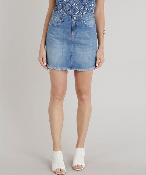 cc0de7720 Saia Jeans Feminina Evasê com Barra Desfiada Azul Claro - cea