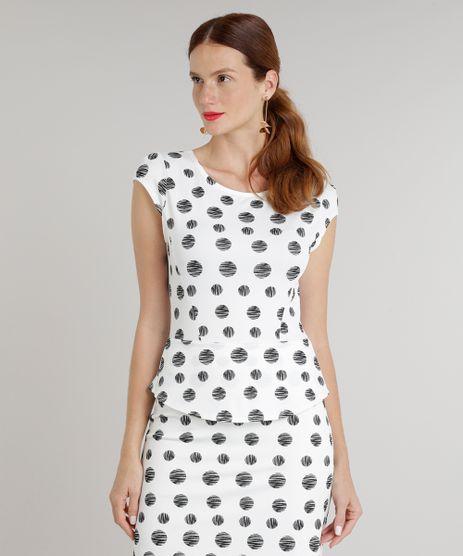 Vestido-Feminino-Curto-Peplum-Estampado-de-Poas-Manga-Curta-Decote-Redondo-Off-White-9215796-Off_White_1