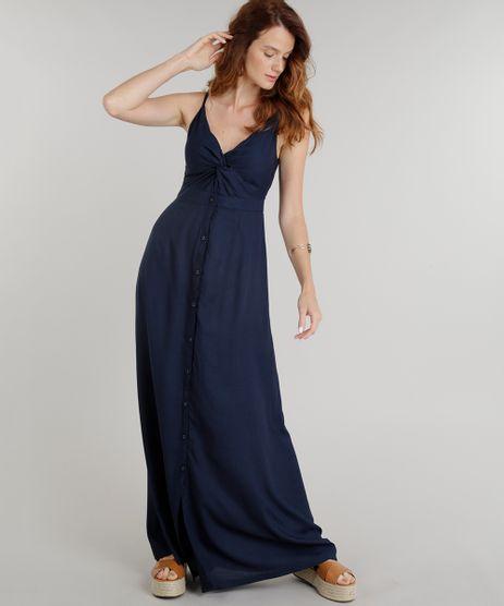 Vestido-Feminino-Longo-com-No-e-Botoes-Alcas-Finas-Decote-V-Azul-Marinho-9186294-Azul_Marinho_1