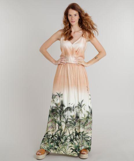 Vestido-Feminino-Longo-com-Estampa-de-Folhagens-e-Transpasse-Alcas-Finas-Decote-V-Laranja-9305121-Laranja_1