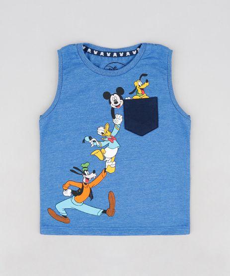 Regata-Infantil-Turma-do-Mickey-com-Bolso-Gola-Careca-Azul-9140179-Azul_1
