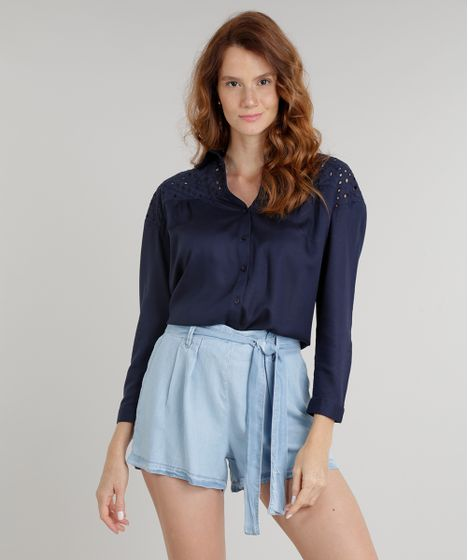 2e5cfbd933df4 Camisa Feminina com Recorte em Laise Manga Longa Azul Marinho - cea