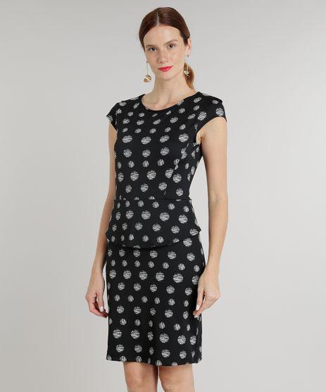 Vestido-Feminino-Curto-Peplum-Estampado-de-Poas-Manga-Curta-Decote-Redondo-Preto-9215795-Preto_1