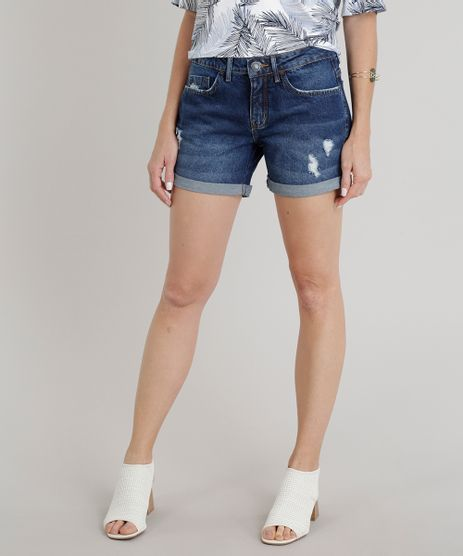 Short-Jeans-Feminino-Midi-com-Puidos-Barra-Dobrada-Azul-Escuro-9195858-Azul_Escuro_1