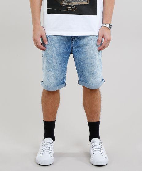 Bermuda-Jeans-Masculina-Reta-Marmorizada-com-Cordao-Azul-Claro-8766317-Azul_Claro_1