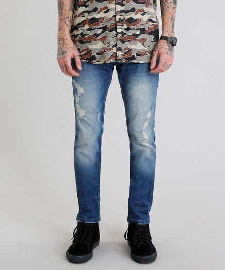 Calca-Jeans-Masculina-Skinny-com-Puidos-Azul-Medio-9202696-Azul_Medio_1