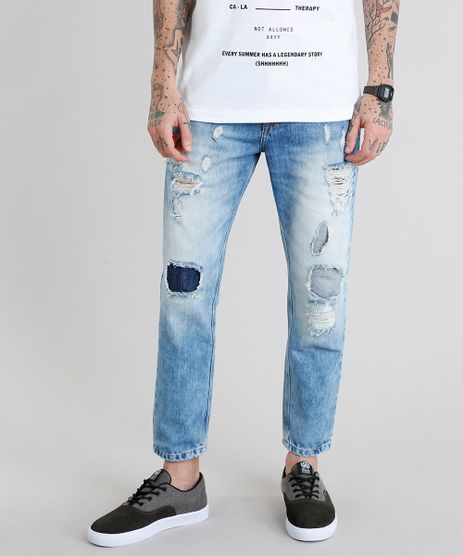 59537223f4 Calca-Jeans-Masculina-Tapered-Destroyed-Azul-Claro-9202699-