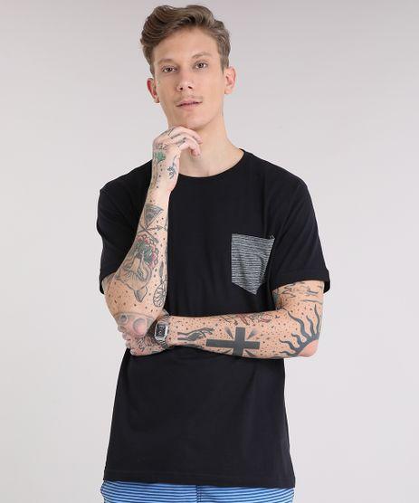 Camiseta-Masculina-com-Bolso-Listrado-Manga-Curta-Gola-Careca-Preta-9237349-Preto_1