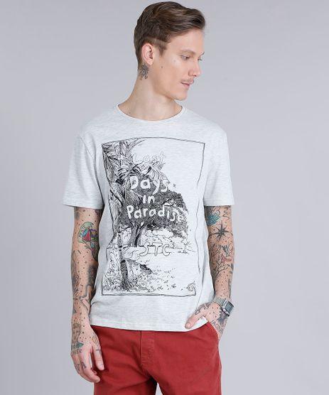 Camiseta-Masculina--Last-Days-in-Paradise--Manga-Curta-Gola-Careca-Cinza-Mescla-Claro-9190315-Cinza_Mescla_Claro_1