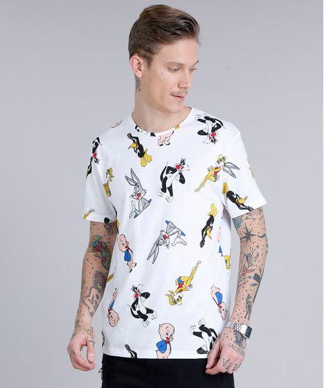 6bc959bd1 Camiseta Masculina Estampada Looney Tunes Manga Curta Gola Careca ...