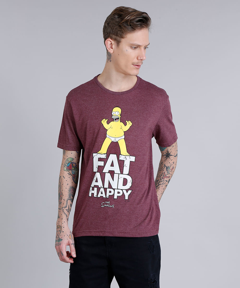 f4f203f30 Camiseta Masculina Homer Simpson Manga Curta Gola Careca Vinho - cea