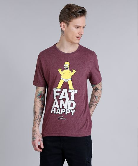 db03102af Camiseta Masculina Homer Simpson Manga Curta Gola Careca Vinho - cea