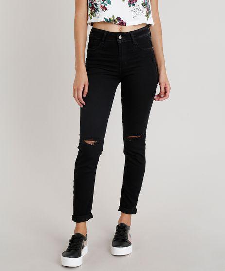 Calca-Jeans-Feminina-Skinny-Sawary-com-Rasgo-no-Joelho-Preta-9322477-Preto_1