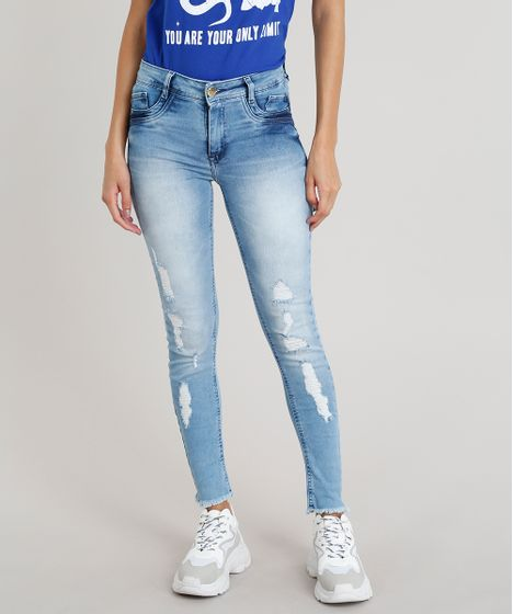 a9c593eb6 Calça jeans Feminina Skinny Sawary Destroyed Azul Claro - cea