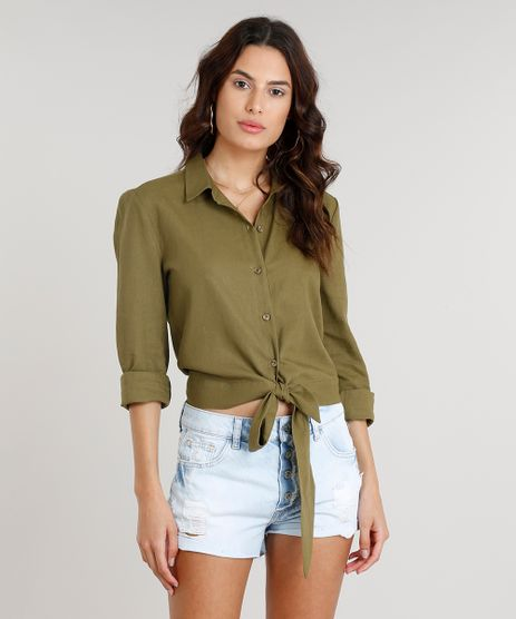 Camisa-Feminina-em-Linho-Cropped-com-Laco-Manga-Longa--Verde-Militar-9089430-Verde_Militar_1