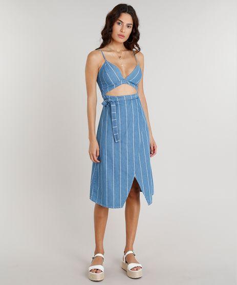 Vestido-Jeans-Feminino-Midi-Transpassado-Listrado-com-Vazado-Alcas-Finas-Decote-V-Azul-Claro-9273119-Azul_Claro_1