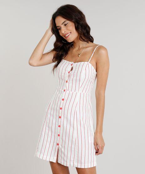 Vestido-Feminino-Curto-Listrado-com-Botoes-em-Linho-Coral-9188347-Coral_1