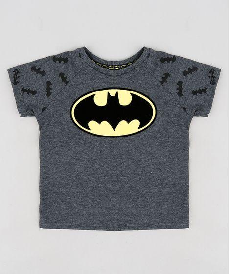 8afdecdcd Camiseta Infantil Batman Raglan Manga Curta Gola Careca Cinza Mescla ...