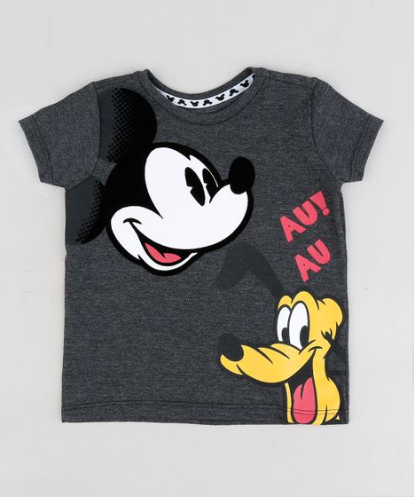 ec7a6144a0 Camiseta Infantil Mickey e Pluto Manga Curta Gola Careca Cinza ...