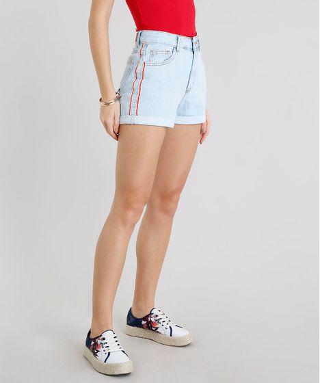 9d7e194b7 Short Jeans Feminino Mom Faixa Lateral Azul Claro - cea