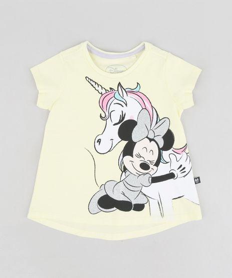 Blusa-Infantil-Minnie-e-Unicornio-com-Glitter-Manga-Curta-Decote-Redondo-Amarela-Claro-9313328-Amarelo_Claro_1